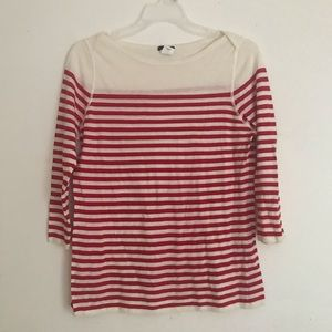 J Crew red and white stripe tee